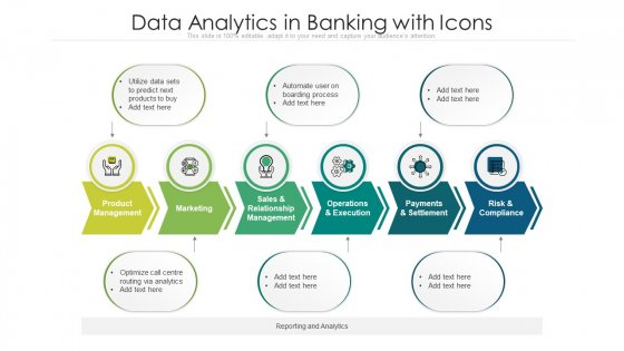 Data Analytics In Banking With Icons Ppt File Summary PDF