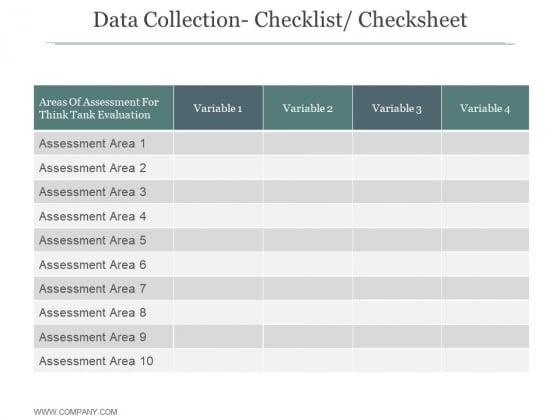 Data Collection Checklist Checksheet Ppt PowerPoint Presentation Styles