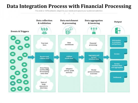 Data Integration Process With Financial Processing Ppt PowerPoint Presentation Gallery Visuals PDF