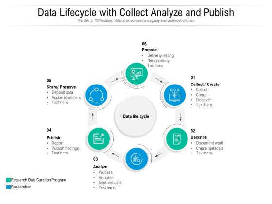 Data Lifecycle With Collect Analyze And Publish Ppt PowerPoint Presentation Professional Infographics PDF
