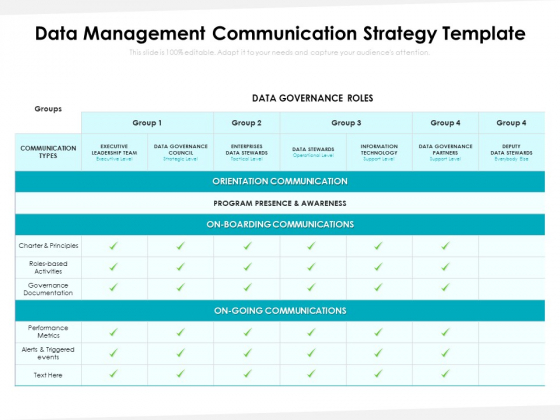Data Management Communication Strategy Template Ppt PowerPoint Presentation File Slides PDF