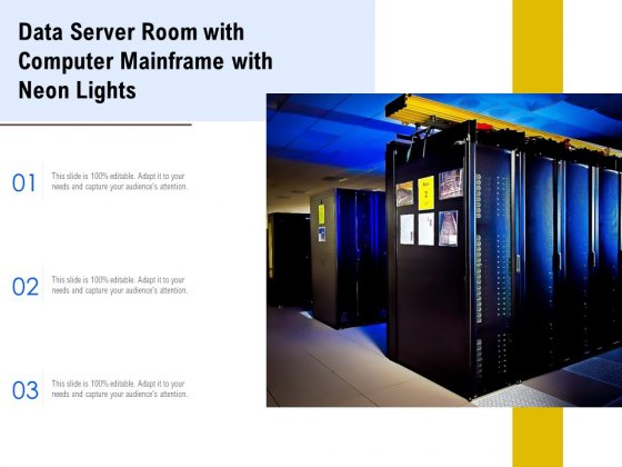 Data Server Room With Computer Mainframe With Neon Lights Ppt PowerPoint Presentation Inspiration Grid PDF