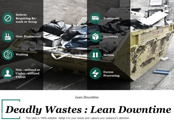 Deadly Wastes Lean Downtime Ppt PowerPoint Presentation Outline Show