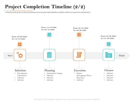 Deal Assessment Project Completion Timeline Plans Execution Ppt Infographic Template Images PDF