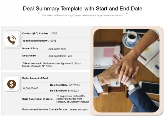 Deal Summary Template With Start And End Date Ppt PowerPoint Presentation File Vector PDF