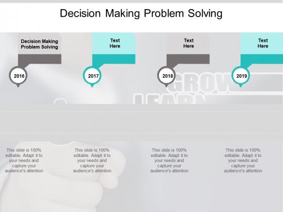 Decision Making Problem Solving Ppt PowerPoint Presentation Slides Gridlines Cpb