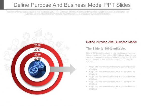 Define Purpose And Business Model Ppt Slides
