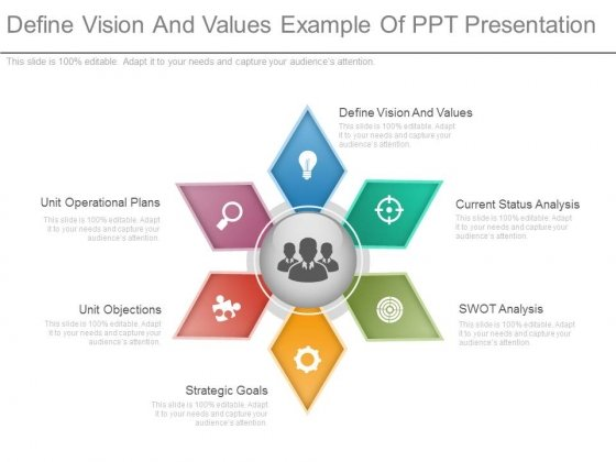 Define Vision And Values Example Of Ppt Presentation