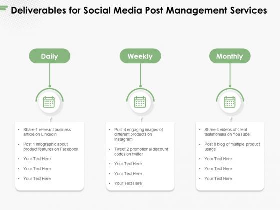 Deliverables For Social Media Post Management Services Ppt PowerPoint Presentation Portfolio Layouts PDF