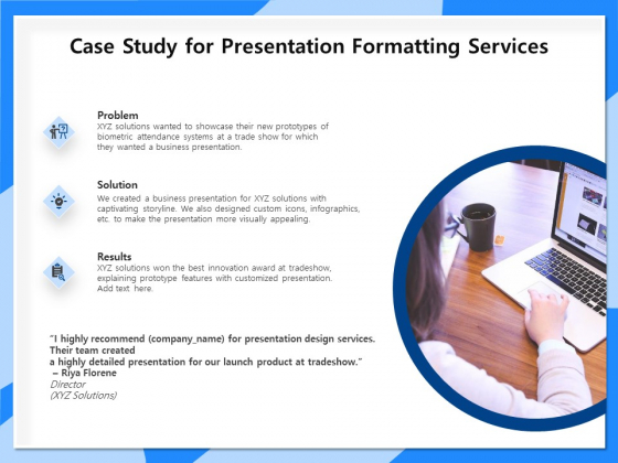 Designing And Editing Solutions Case Study For Presentation Formatting Services Portrait PDF
