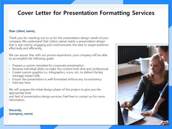Designing And Editing Solutions Cover Letter For Presentation Formatting Services Brochure PDF