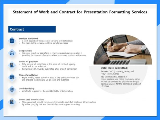 Designing And Editing Solutions Statement Of Work And Contract For Presentation Formatting Services Background PDF