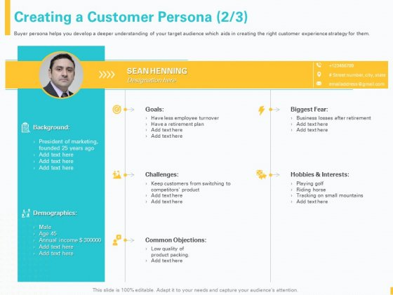 Designing Great Client Experience Action Plan Creating A Customer Persona Demographics Ppt Pictures Example PDF