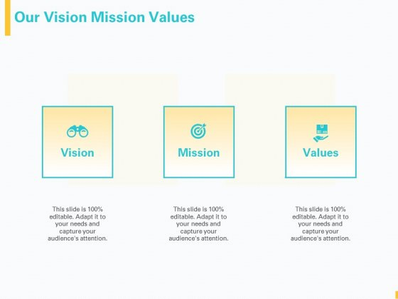 Designing Great Client Experience Action Plan Our Vision Mission Values Ppt PowerPoint Presentation Pictures Infographics PDF