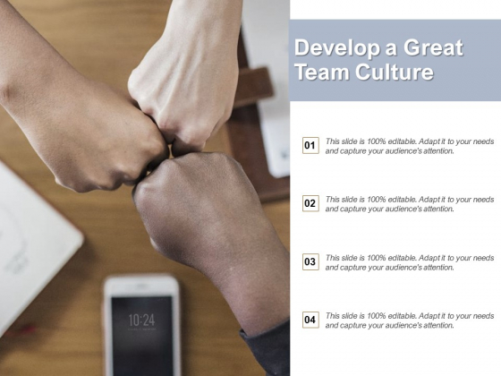 Develop A Great Team Culture Ppt PowerPoint Presentation Summary Brochure