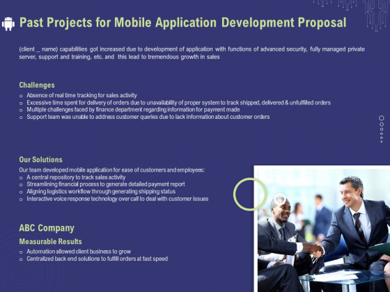 Develop Cellphone Apps Past Projects For Mobile Application Development Proposal Background PDF