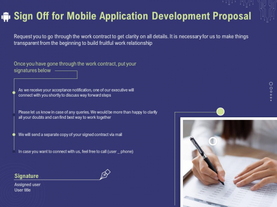 Develop Cellphone Apps Sign Off For Mobile Application Development Proposal Ppt PowerPoint Presentation Ideas Microsoft PDF