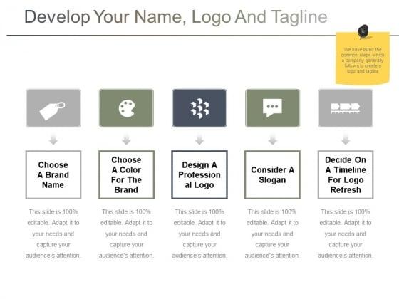 Develop Your Name Logo And Tagline Ppt PowerPoint Presentation Portfolio Ideas