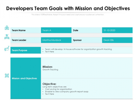 Developers Team Goals With Mission And Objectives Ppt PowerPoint Presentation Show Layouts PDF