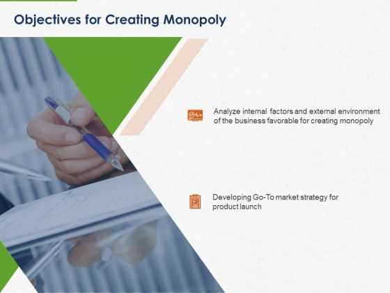 Developing And Creating Corner Market Place Objectives For Creating Monopoly Ppt PowerPoint Presentation File Microsoft PDF
