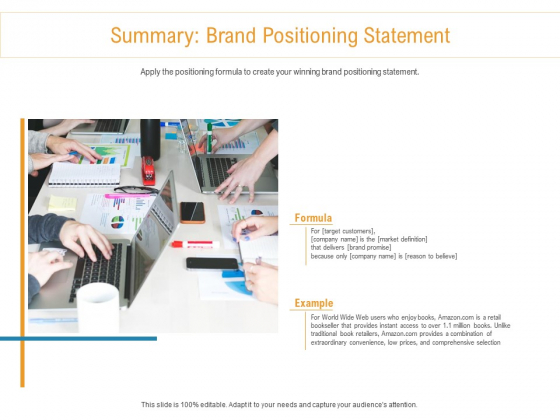 Developing New Trade Name Idea Summary Brand Positioning Statement Ppt Professional Picture PDF