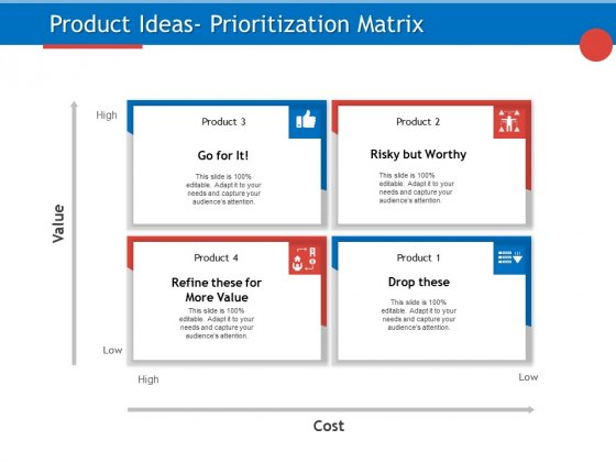 Developing Product Planning Strategies Product Ideas Prioritization Matrix Ppt PowerPoint Presentation Show Elements PDF