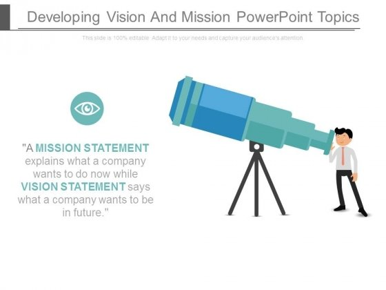 Developing Vision And Mission Powerpoint Topics