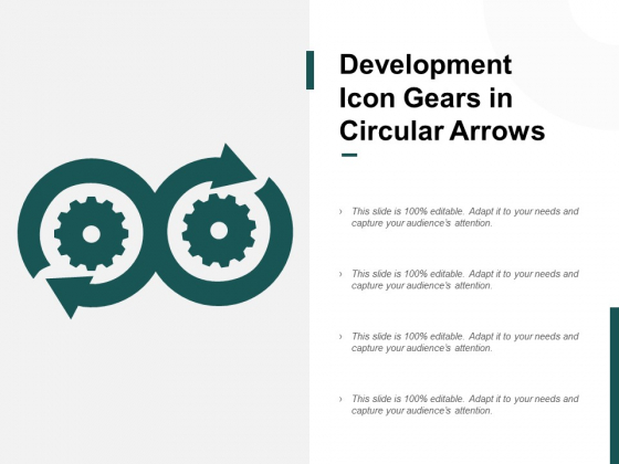 Development Icon Gears In Circular Arrows Ppt PowerPoint Presentation Summary Graphics