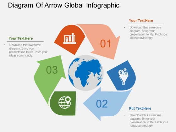 Diagram Of Arrow Global Infographic Powerpoint Templates