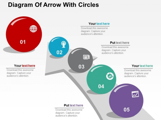 Diagram Of Arrow With Circles Powerpoint Templates