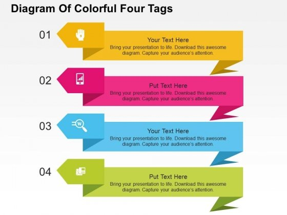 Diagram Of Colorful Four Tags Powerpoint Templates