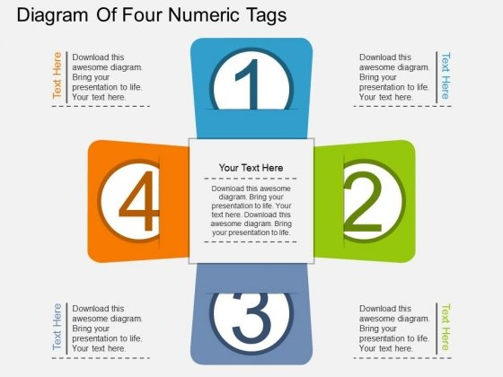 Diagram Of Four Numeric Tags Powerpoint Template