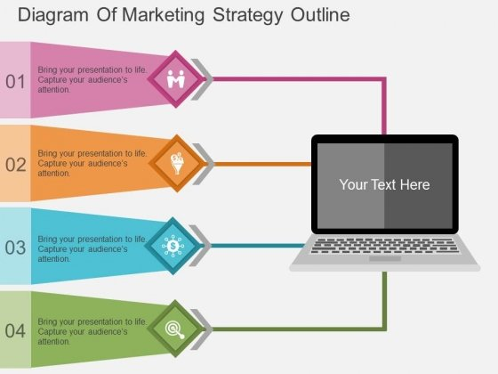 Diagram Of Marketing Strategy Outline Powerpoint Template