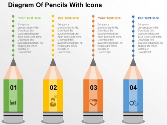 Diagram Of Pencils With Icons Powerpoint Templates