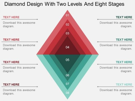 Diamond Design With Two Levels And Eight Stages Powerpoint Template