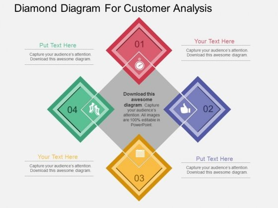 Diamond Diagram For Customer Analysis Powerpoint Template