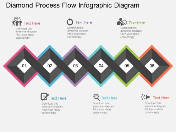 diamond process flow infographic diagram powerpoint template