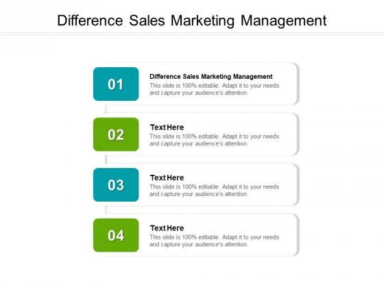 Difference Sales Marketing Management Ppt PowerPoint Presentation Ideas Cpb Pdf