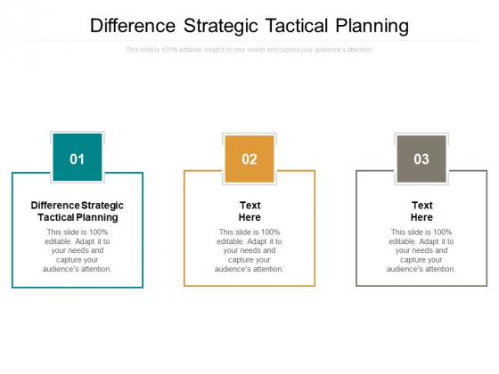 Difference Strategic Tactical Planning Ppt PowerPoint Presentation Show Portfolio Cpb