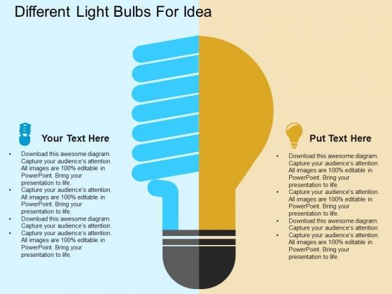 Different Light Bulbs For Idea Powerpoint Template