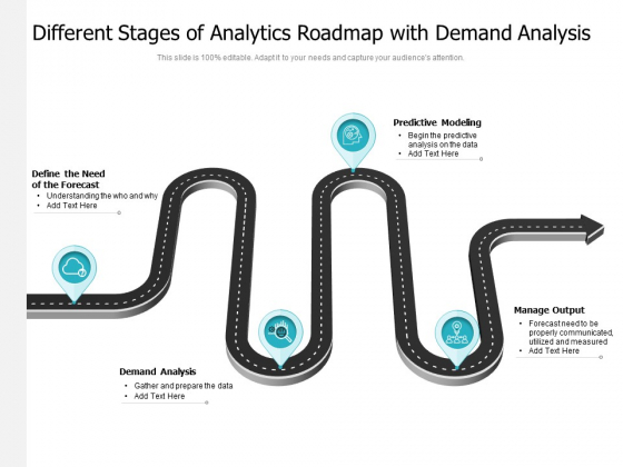 Different Stages Of Analytics Roadmap With Demand Analysis Ppt PowerPoint Presentation Gallery Slideshow PDF