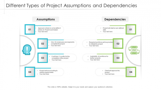 Different Types Of Project Assumptions And Dependencies Ppt Professional Design Inspiration PDF