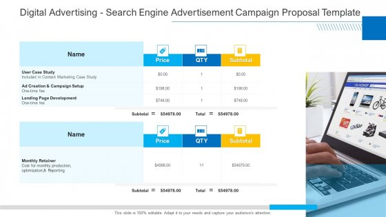 Digital Advertising Search Engine Advertisement Campaign Proposal Template Sample PDF