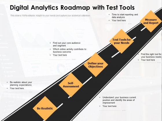 Digital Analytics Roadmap With Test Tools Ppt PowerPoint Presentation Gallery Graphics Download PDF