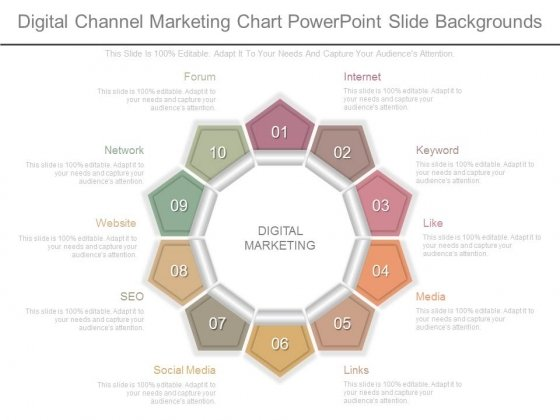 Digital Channel Marketing Chart Powerpoint Slide Backgrounds