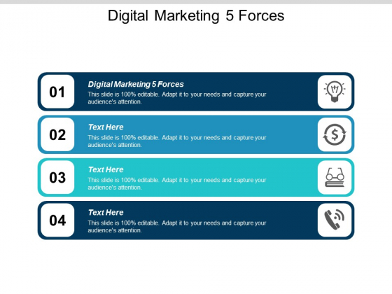 Digital Marketing 5 Forces Ppt Powerpoint Presentation File Brochure Cpb