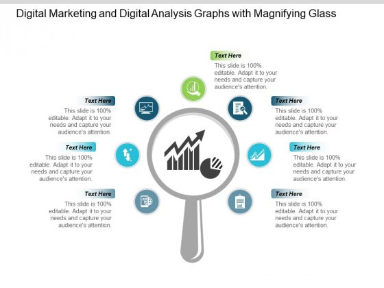 Digital Marketing And Digital Analysis Graphs With Magnifying Glass Ppt PowerPoint Presentation Portfolio Show