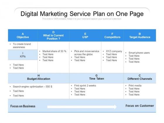 Digital Marketing Service Plan On One Page Ppt PowerPoint Presentation Diagram Templates PDF