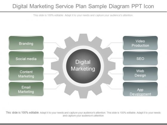 Digital Marketing Service Plan Sample Diagram Ppt Icon