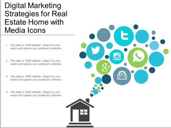 Digital Marketing Strategies For Real Estate Home With Media Icons Ppt PowerPoint Presentation Gallery Information